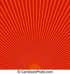 rayons, soleil, résumé, arrière-plan rouge