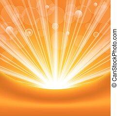 rayons, soleil, résumé, fond, lumière, orange