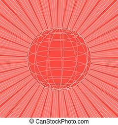 rayons, soleil, résumé, illustration, arrière-plan., vecteur, ligne, globe, rouges, design.