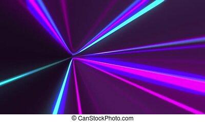 rayons, transition., métrage, néon, clair, mouvement, gauche...