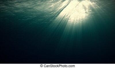 rayons, voile, sunlight., sous-marin, consister, beau, océan...