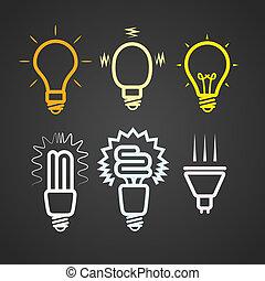 rayos, color, luz, colección, siluetas, lámparas