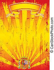 rayos de sol, retro, carta, español