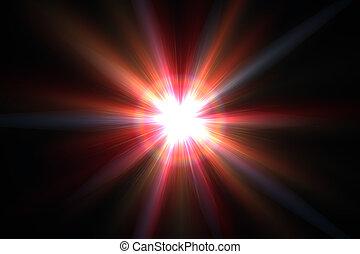 rayos, estrella, flare., lente, fondo negro, luz, sol, rojo
