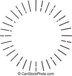 rayos, illustration., muy lleno, sol, resumen, líneas