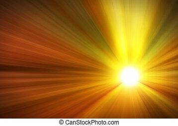 rayos ligeros, fuerte, abrasador, sol