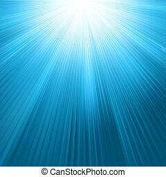 rayos sol, en, cielo azul, template., eps, 8