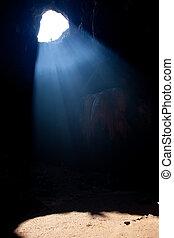 rayos sol, en, cueva