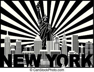 rayos, sol, ilustración, contorno, york, texto, nuevo