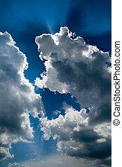rayos sol, nubes, por