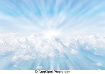 rayos sol, nubes
