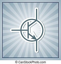 Rays background with symbol of bipolar transistor. Flat graphic. Eps 10