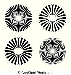 Rays, beams element. Sunburst, starburst shape on white. Radiating, radial, merging lines. Abstract circular geometric shape. Vector set collection.