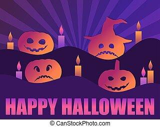 rays., calabazas, asustadizo, ilustración, saludo, 31st., tarjeta, octubre, candles., feliz, halloween, vector, plano de fondo