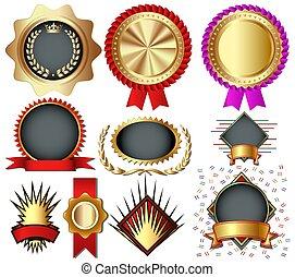 rays., medaglie, vacanza, colorito, set, etichette, nastri, corona, sigilli, illustrazione