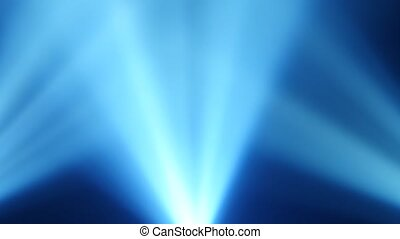 Rays of blue light from searchlights on a black smoke background
