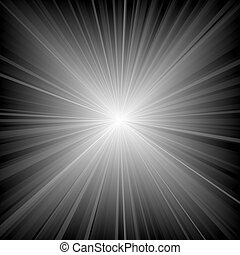 Rays Of Light - Beams On Black Background, Illustration...