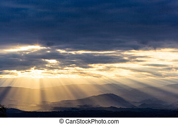rays of light in the evening sky