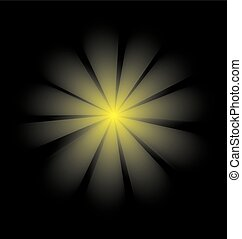 rays of light in the shape of a flower on a black background