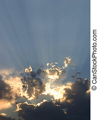 Rays of setting sun