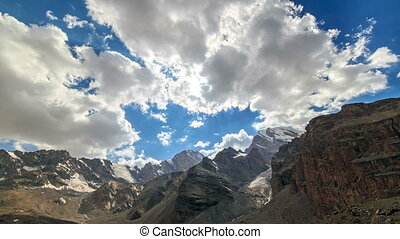 Rays of sun in the mountains. Time Lapse. Pamir, Tajikistan...