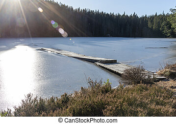 Rays of sunshine at frozen pond in winter