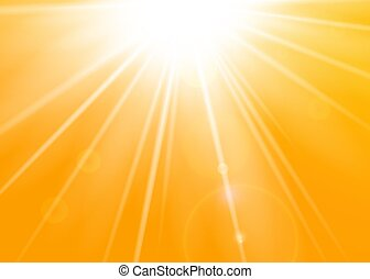 Rays yellow background. Gold sunny sky. Heat sunburs, hot weather. Sunshine orange sky. White warm sunlight. Bright golden solar sunrise, summer template. Lens optic effect Vector illustration