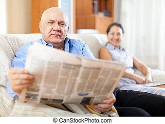 razem, gazeta, para, dojrzały