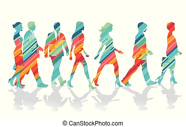 razem, grupa, ilustracja, barwny, ludzie