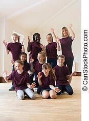 razem, nauczyciel, dramat, warsztat, portret, cieszący się, dzieci