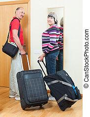 razem, para, bagaż, dojrzały