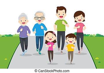 razem, rodzina, jogging, cielna, wykonując