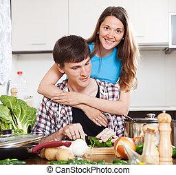 razem, szczęśliwa para, gotowanie