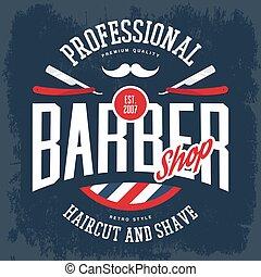 Razor and mustache on barbershop logo or sign - Barber shop...