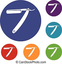 Razor blade icons set