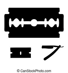 Razor Blade Outlines - Black silhouette outlines of various...