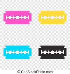 Razor blade sign. CMYK icons on transparent background. Cyan, ma