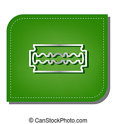 Razor blade sign. Silver gradient line icon with dark green shadow at ecological patched green leaf. Illustration.