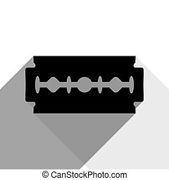 Razor blade sign. Vector. Black icon with two flat gray shadows on white background.