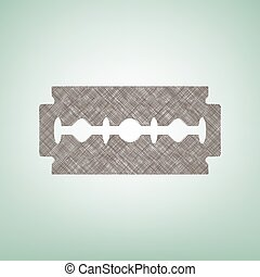 Razor blade sign. Vector. Brown flax icon on green background with light spot at the center.