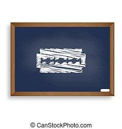 Razor blade sign. White chalk icon on blue school board with sha