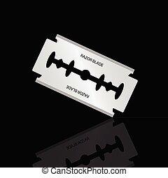razor blade silver vector illustration on black background