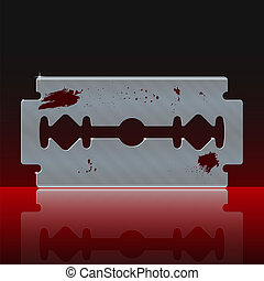 Razor Blade Stained with Blood on Dark Background - Vector...