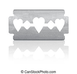 Razor blade with heart shape and reflection. Isolated on white