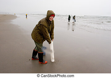 Razor Clam Diggers, Oregon Coast - Black and white photo of...