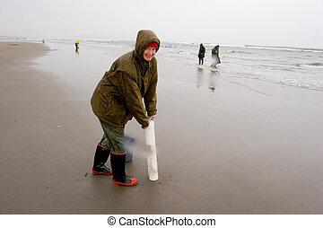 Razor Clam Diggers, Oregon Coast - Black and white photo of...