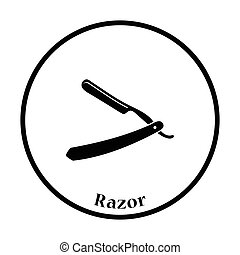 Razor icon. Thin circle design. Vector illustration.
