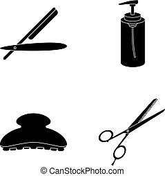 Razor, lotion, brush, scissors. Hairdresser set collection icons in black style vector symbol stock illustration web.