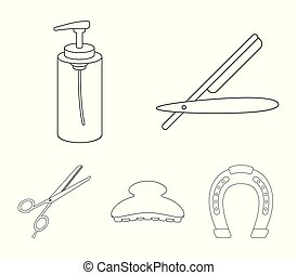 Razor, lotion, brush, scissors. Hairdresser set collection icons in outline style vector symbol stock illustration web.