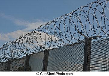 Razor wire with fence